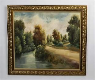 "Alexa Kelemen, signed O/c river landscape, 48""w"