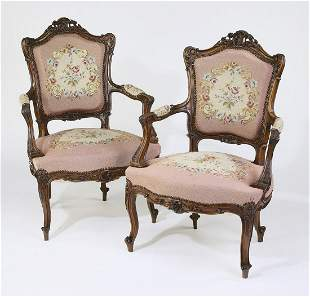 (2) Late 19th c. Louis XV style needlepoint fauteuils