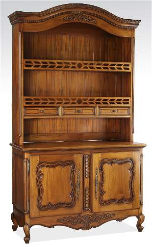 """French Provincial style mahogany cupboard, 90""""h"""