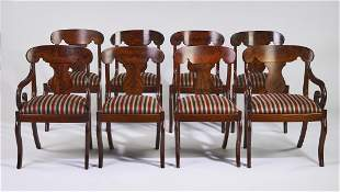 (8) American Empire style mahogany chairs