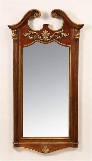 """Carved and parcel gilt mahogany mirror, 54""""h"""