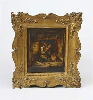 Dutch School oil on copper genre scene, 19th c.