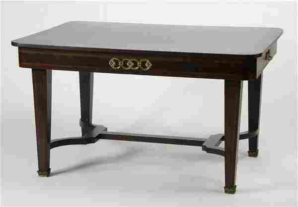 """French parquetry inlaid table, 54""""w"""