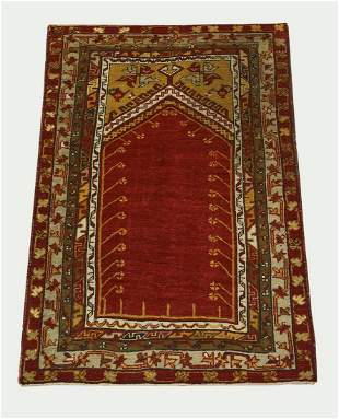 Hand knotted wool Turkish prayer rug, 5 x 3
