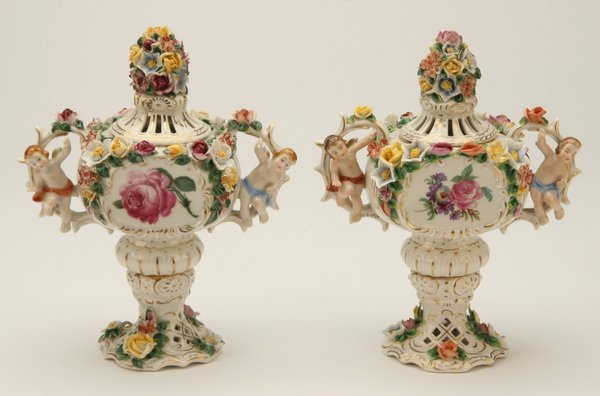 1: Pair of Dresden porcelain urns