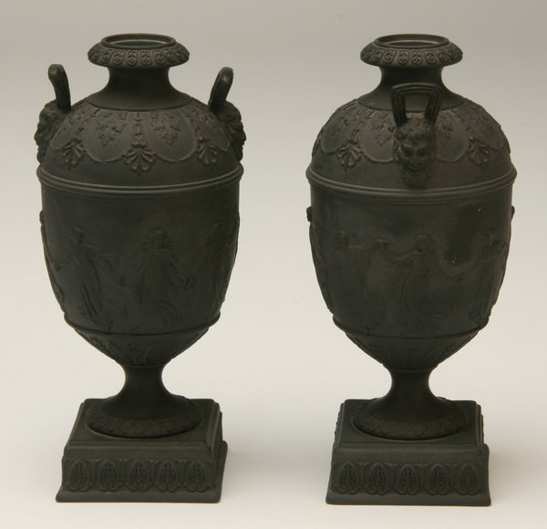 2: Pair of Wedgewood basalt urns