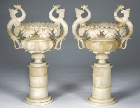 12: Pair of 19th c. alabaster tazzas