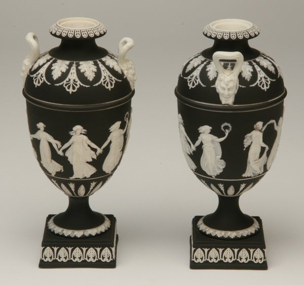 15: Pair of Wedgewood Jasperware urns