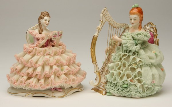 17: Pair of Dresden porcelain figures