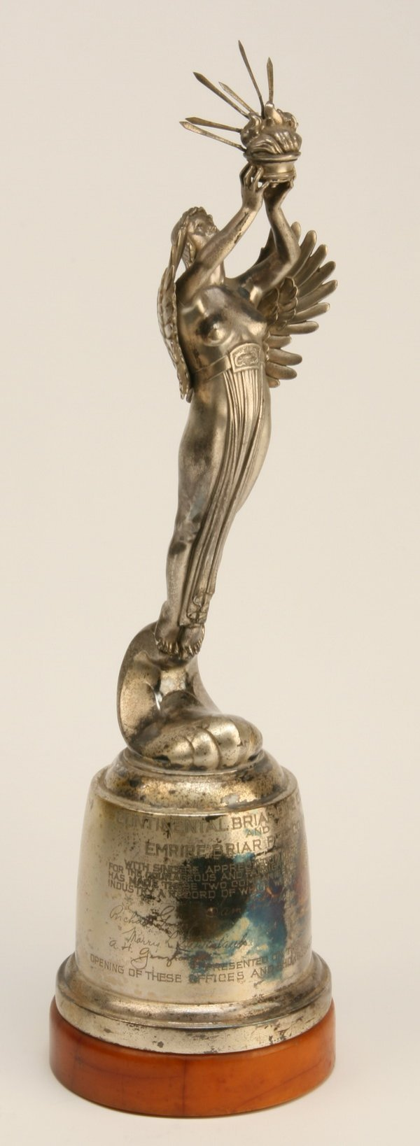 22: Art Deco silver over metal trophy