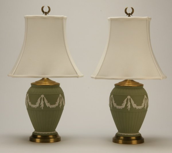 23: Pair of Wedgewood Jasperware table lamps