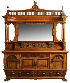 213: 19th c. carved oak Scottish buffet, maker marked