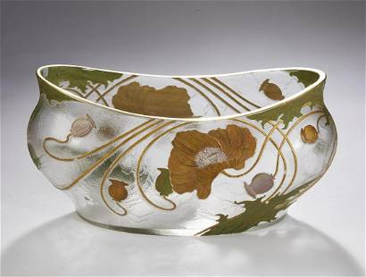 Art Nouveau enameled vase, attr Val St. Lambert