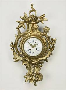 Japy Freres gilt bronze cartel clock, 19th c.