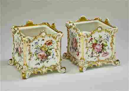 (2) Jacob Petit porcelain cache pots, 19th c.