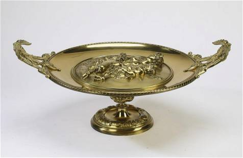 Neoclassical style gilt figural tray with satyress