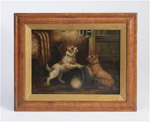 19th c. Continental O/c of playful terriers
