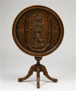 Continental carved, marquetry inlaid, tilt top table