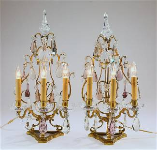 (2) Gilt bronze and crystal electrified candelabra