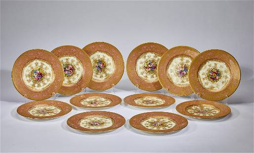 (12) Royal Worcester hand painted porcelain plates