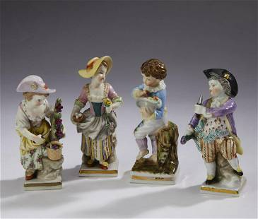 (4) 19th c Sitzendorf Porcelain figures of children