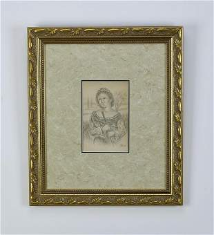 Signed Marie Stillman graphite portrait, ca 1889