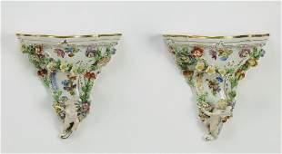 (2) Dresden porcelain wall brackets, c. 1902-1918