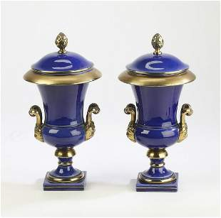 """(2) Italian porcelain lidded urns, 12""""h"""