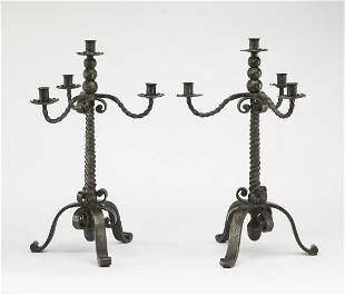 (2) French hand-formed wrought iron candelabra