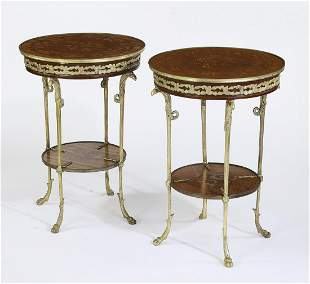 (2) Empire style gilt mounted marquetry inlaid tables