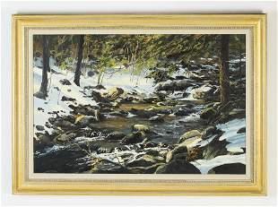 Barry Nehr signed O/C winter landscape