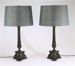 """(2) Empire style patinated metal table lamps 30""""h"""