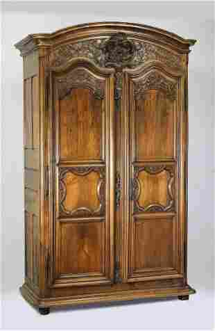 Late 18th c, French Provincial walnut armoire