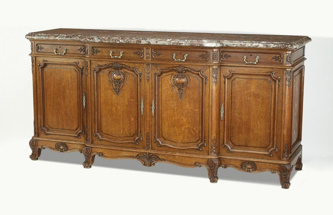 """19th c. French Provincial marble top buffet, 87""""w"""