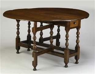 18th c. English Jacobean style oak gateleg table