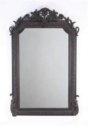 """Early 20th c. Baroque style pierced wall mirror, 52""""h"""