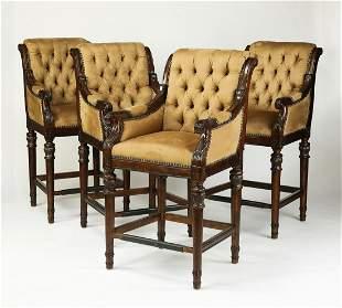 "(4) English club style upholstered bar stools, 48""h"
