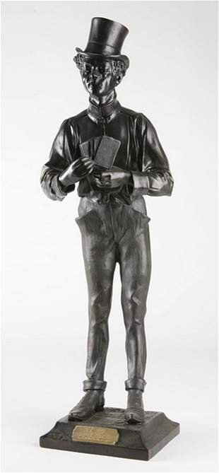 Bronze sculpture of card playing gent, signed