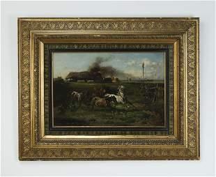 Signed Adolph Van Der Venne O/c farm scene, 1885