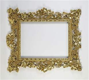 Italian carved giltwood frame with grapevines