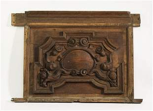 """19th c. relief carved oak architectural panel, 52""""w"""