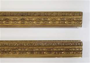 """(2) Italian carved and gilt decorative moldings 119""""l"""