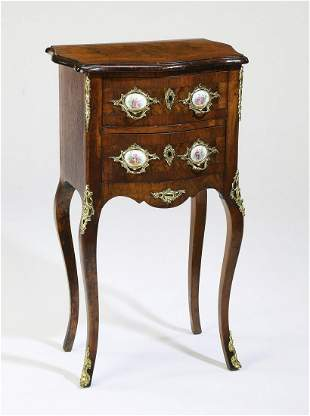 Early 20th c petite marquetry commode w/ porcelains