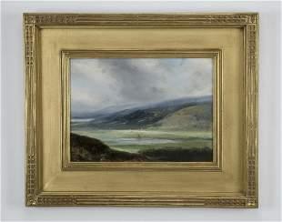 Contemporary O/b of tranquil lake near a hillside