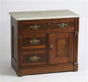 Late 19th c. East Lake marble top cabinet