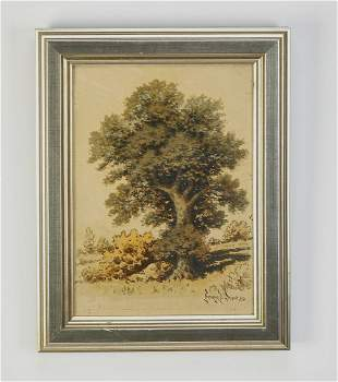 Signed George W. Crow O/b landscape, 1950
