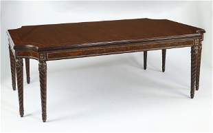 Henredon marquetry inlaid extendable dining table