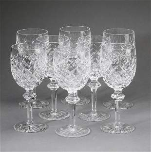 (8) Waterford Powerscourt water goblets, marked