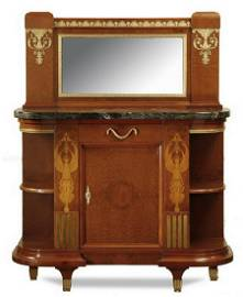 19th c. French Empire marble top inlaid server