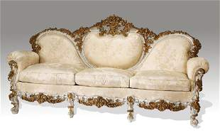 Italian Rococo style carved and gilt sofa